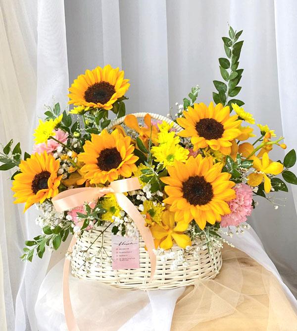 Giỏ hoa hướng dương xinh xắn nhất