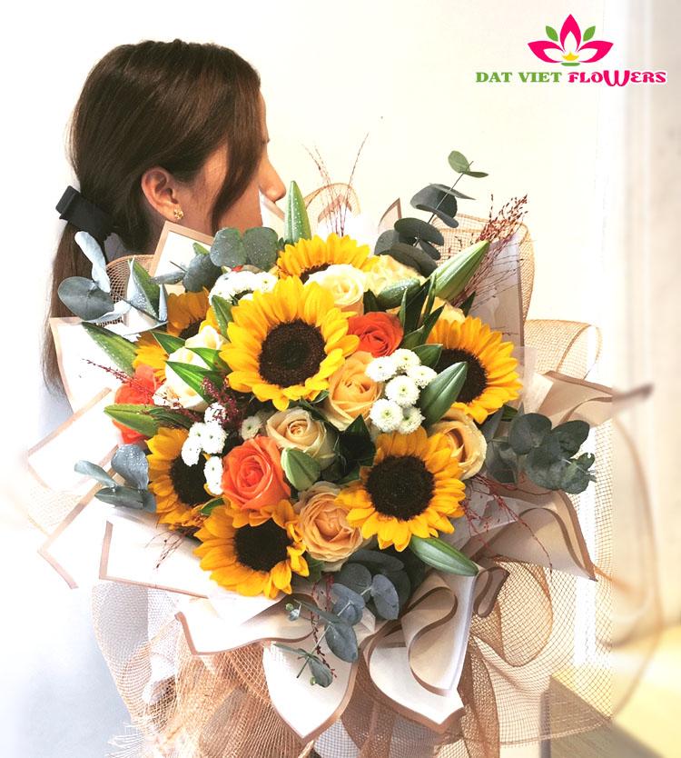 Bó hoa hướng dương đẹp chúc mừng 8-3