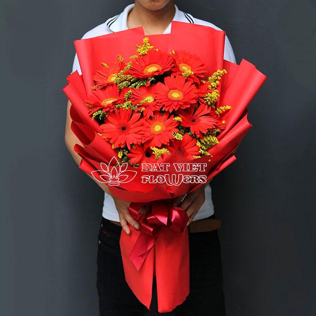 Bó hoa đồng tiền đỏ