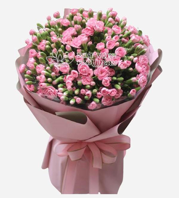 Bó hoa cẩm chướng hồng rất xinh