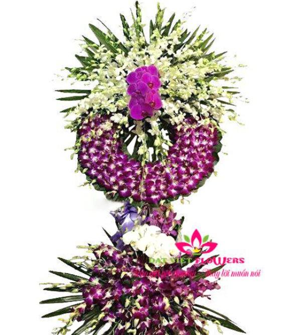 Hoa viếng đám tang người lớn tuổi tone trắng tím